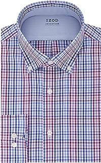 "IZOD Men's Big Dress Shirt Tall Fit Stretch Cool FX Check, Purple Multi, 19"" Neck 37""-38"" Sleeve"