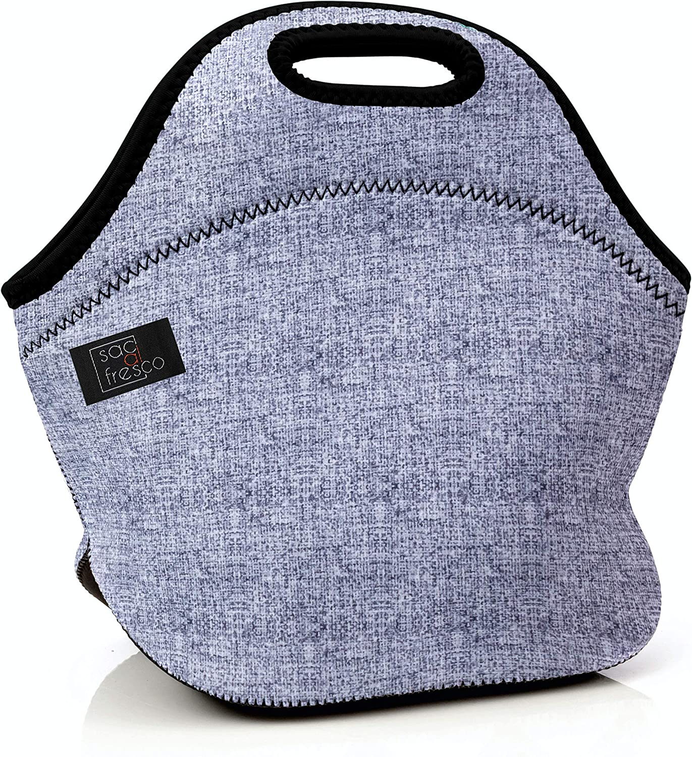 Sac al Fresco Deluxe Neoprene Insulated Lunch Bag Extra Thick Insulated Lunch Box With Heavy Duty Zipper Lunch Bag, Snacks, Baby Bottle Bag, Bottle Carrier Six Pack (Gray pattern)