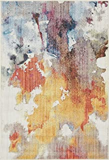 Unique Loom Downtown Collection by Jill Zarin Collection Abstract Modern Watercolor Pastel Tones Multi Area Rug (4' 0 x 6' 0)