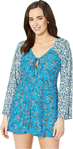 Boho Fleur V-Neck Cover-Up Tunic