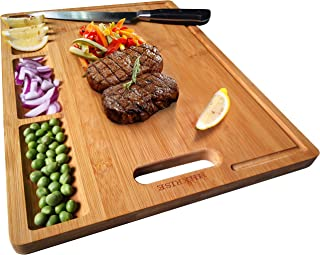 Large Organic Bamboo Cutting Board For Kitchen, With 3 Built-In Compartments And Juice..