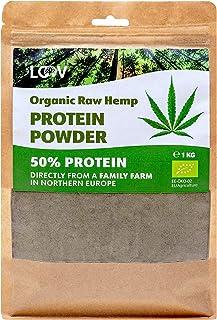 Polvo de proteína de cáñamo crudo orgánico LOOV, 1 kg, 50% de proteína, Nutrientes conservados, Rico sabor a nuez, Cultiva...