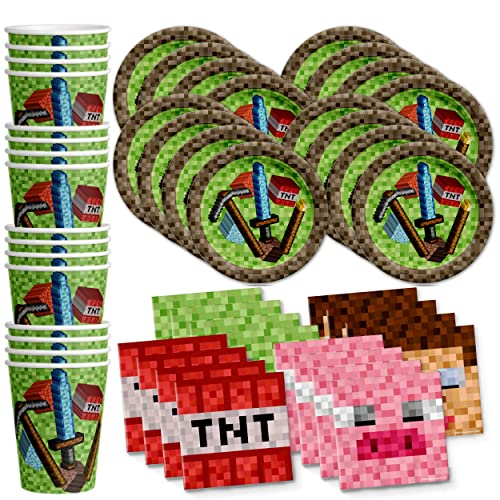 Mining Pixel World Birthday Party Supplies Set Plates Napkins Cups Kit For 16 By Galore