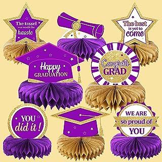 2021 ديكورات حفلات التخرج فئة 2021 Congrats Grad Honeycomb المركزية لطاولة التخرج لمستلزمات حفلات التخرج باللون الأرجواني ...