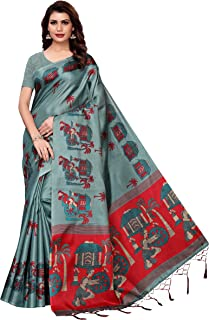 Indian Women's Khadi Silk Fabrics Multi-Colored Printed Sari with Blouse Piece (Fabric) Village SEA Green