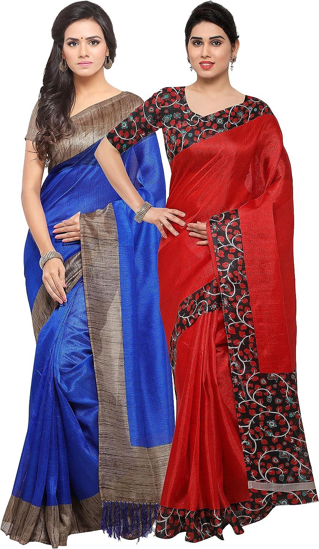 Rajnandini Women's Tussar Silk Plain Saree(JOPLNB3006A6004D_bluee And Red_Combo Of 2)