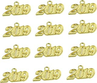 Aokbean Pack of 12 Alloy 2019 Year Charm Graduation Charm for DIY Crafts Graduation Tassel Grad Day(Gold, Large)
