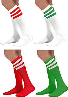 4 Pack Set - Red & Green Holiday Christmas Colored Knee High Socks