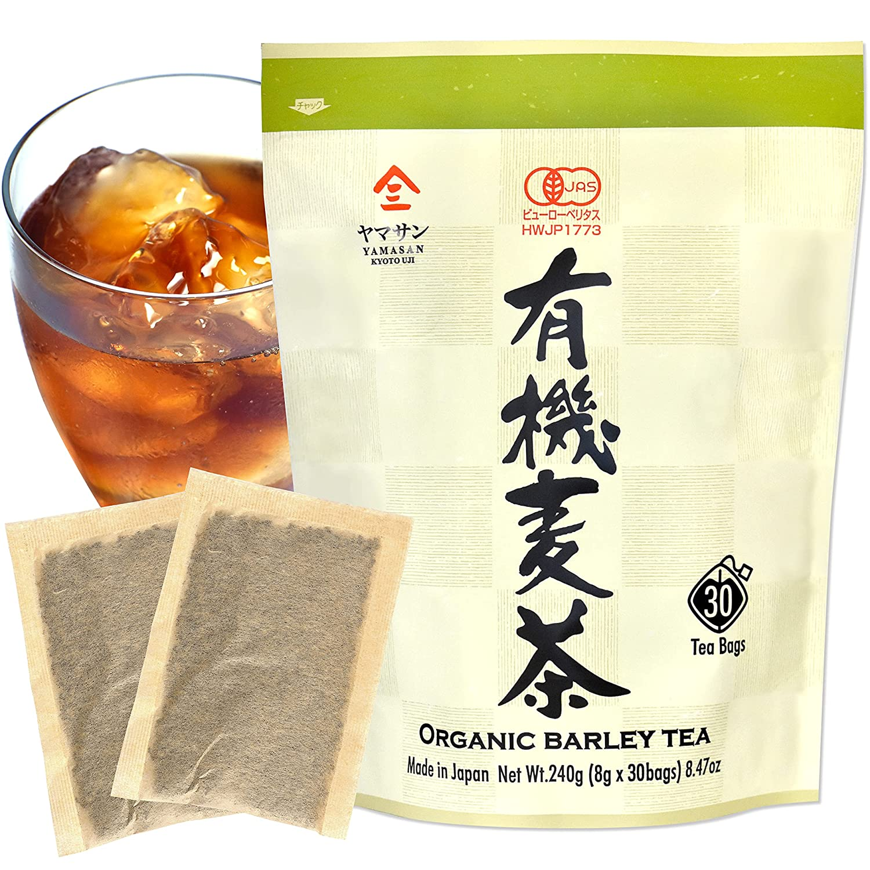 Barley Tea - Iced Tea Organic Mugicha Tea Bags, Summer Cold Brew Tea, Japanese Drinks, 30 Large Tea Bags, Caffeine Free, Unsweetened, 100% Made in Japan【YAMASAN】