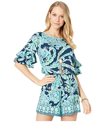 Lilly Pulitzer Lula Romper (High Tide Navy Scuba Doo) Women