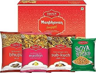 Bikaji - Indian Diwali Festive Gift Box - Diwali Special Sweets & Snacks - Manbhavan Soan Papdi Sweet, Bhujia, Cornflakes mix mastkin, Soya sticks and Sub Kuch Snacks
