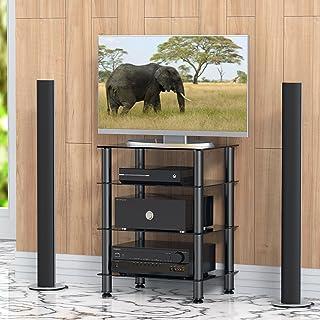 FITUEYES Mueble HiFi con 4 Estante de Vidrio Templado Soporte para Equipo de Música 60 x 45,5 x 76 cm