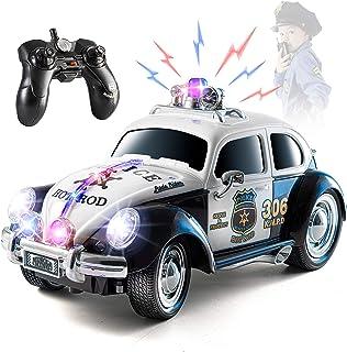 Top Race Coche de policía con Control Remoto, Luces y Sirenas | Coche de policía RC para niños | Fácil de controlar, neumáticos de Goma, Estilo Antiguo y Resistente para escarabajos