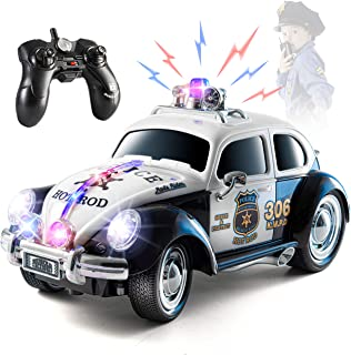Top Race Remote Control Police Car, with Lights and Sirens | RC Police Car for Kids | Easy to Control, Rubber Tires, Heavy Duty Old Fashioned Style