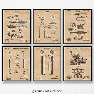 Original Dentists Patent Art Poster Prints, Set of 6 (8x10) Unframed Photos, Great Wall Art Decor Gifts Under 20 for Home, Office, Garage, Man Cave, Shop, Dental Hygienist, Student, Teacher, Fan