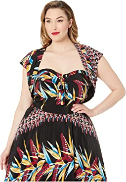 Plus Size Kamehameha Bird Of Paradise Hawaiian Print Ronnie Bolero
