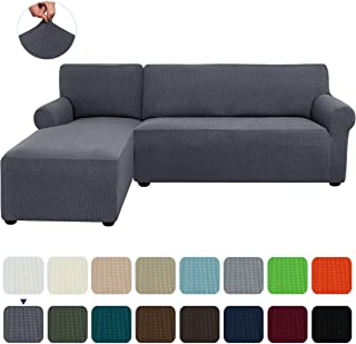 subrtex 2-Piece L Shape Sectional Sofa Slipcovers with Left Chaise Sleeves Jacquard High Stretch Furniture Protector 2 Seater Couch Cover for Living Room (Gray)
