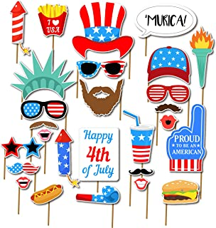 7-gost 27PCS 4th of July American USA Independence Day Photo Booth Party Props Masks Decorations