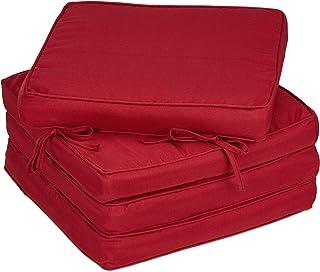 Relaxdays 10033775_114 Coussin de Chaise, 4, 40x40 cm, Bandes, épais, intérieur, extérieur, Polyester, Mousse,Bordeaux, 1 ...