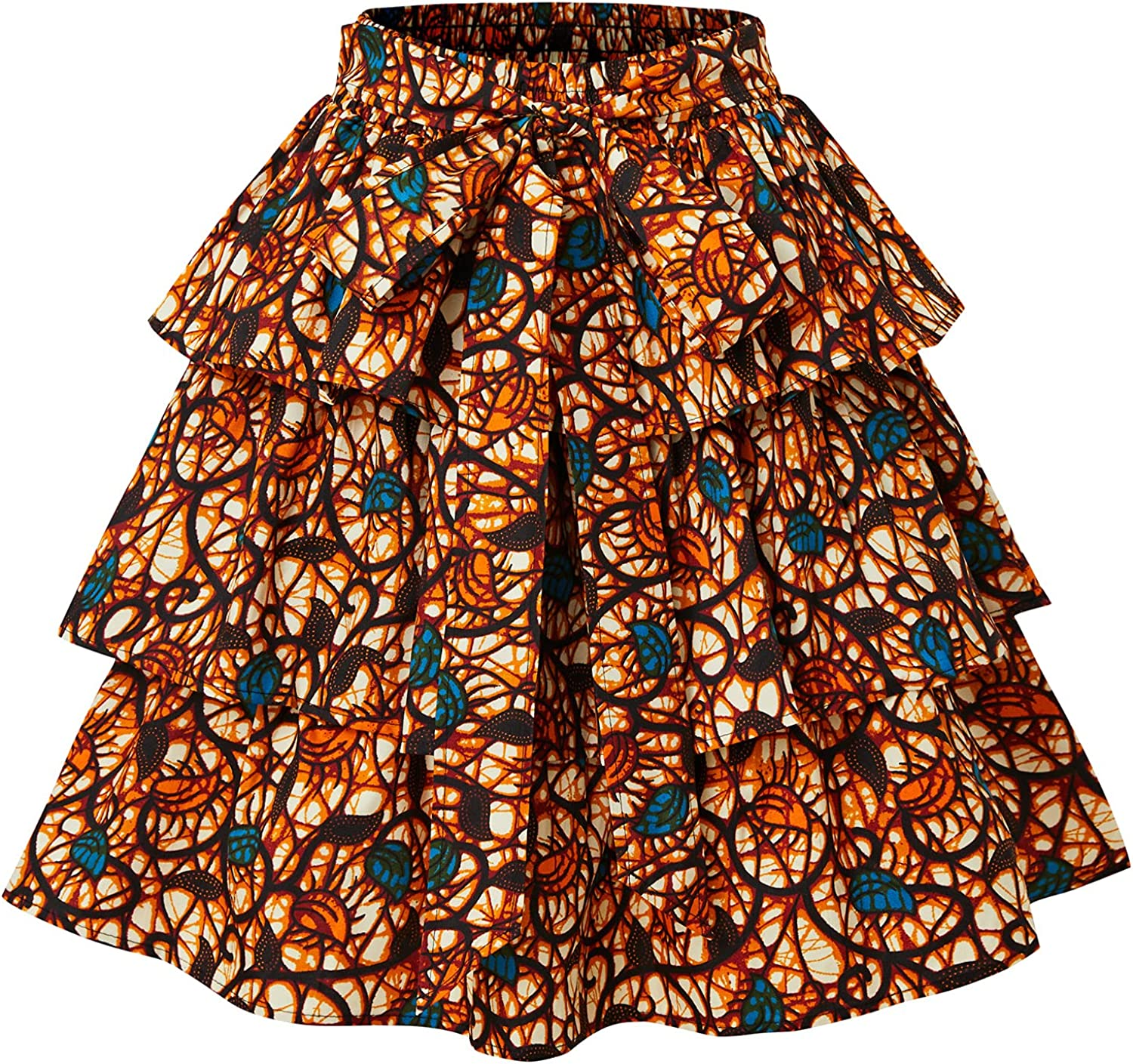 U/C Women African Print Skirt,African Tiered Kent Skirt with Adjustable Strap (A1)