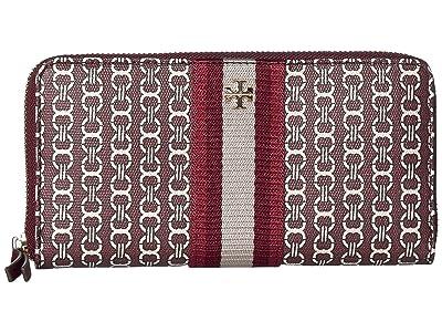 Tory Burch Gemini Link Canvas Zip Continental Wallet (Royal Burgundy Gemini Link) Handbags