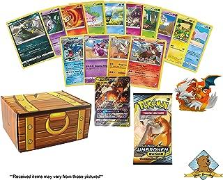 50 Random Pokemon Card Lot - Featuring 1 Charizard Reshiram Tag Team GX Ultra Rare - 1 Charizard Reshiram Collectible Figure - 1 Random 10 Card Booster Pack! Includes Golden Groundhog Treasure Box!
