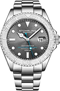 "Mens Swiss Automatic Stainless Steel Professional""DEPTHMASTER"" Dive Watch, 200 Meters Water Resistant, Brushed and Polished Bracelet with Divers Safety Clasp and Screw Down Crown"