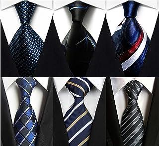 Wehug Lot 6 PCS Men's Ties 100% Silk Tie Woven Necktie Jacquard Neck Ties