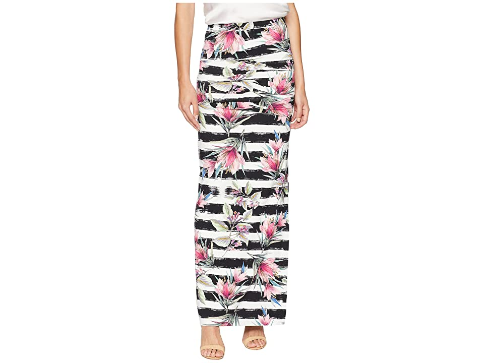 Nicole Miller Tidal Pleat Maxi Skirt (Black/White) Women's Skirt