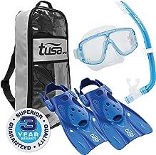 TUSA Sport Adult Platina Hyperdry Mask, Snorkel, Fins Travel Set