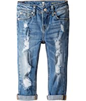 7 For All Mankind Kids - Skinny Crop & Roll Jeans in Rigid Blue Orchid (Little Kids)