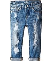 7 For All Mankind Kids - Skinny Crop & Roll Jeans in Rigid Blue Orchid (Little Kids)