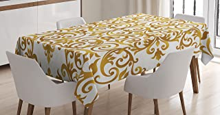 Ambesonne Kitchen Decor Tablecloth, Victorian Golden Lace Antique Baroque Pattern Oriental Ottoman Royal Square Pattern, Dining Room Kitchen Rectangular Table Cover, 60 X 90 inches, White Gold