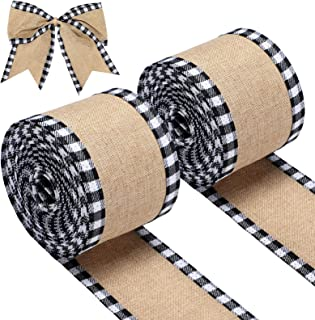 2 Rolls Christmas Buffalo Plaid Wired Edge Ribbons Burlap Fabric Craft Ribbon Natural Wrapping Ribbon Rolls with Checkered...