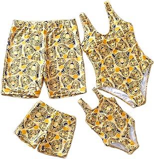 Yaffi Family Matching Swimsuit Women Girl Men Boy One Piece Beach Wear Leopard Printed Sporty Monokini Bathing Swimwear