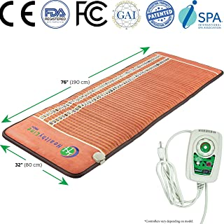 HealthyLine Pemf Therapy - Infrared Heating Pad - 76in x 32in Firm - Certified Amethyst - Tourmaline - Obsidian Hot Stones - Promotes Blood Circulation and Accelerates Recovery