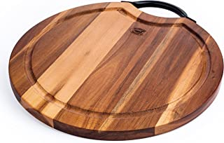 Superior Trading Co. Acacia Wood Cutting Board with Steel Handle. FDA Approved. 14 in.