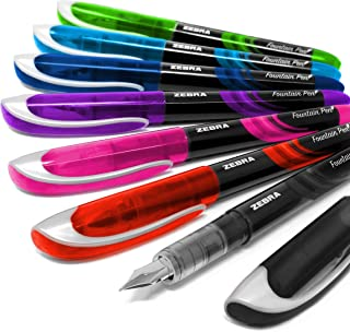 Zebra Fuente - Disposable Fountain Pen - One of Each Coloured Ink - Pack of 7