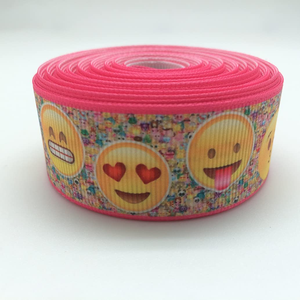 PEPPERLONELY 10 Yards 25mm (1 Inch) Smily Faces Printed Grosgrain Ribbon