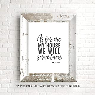 As For Me and My House We Will Serve Tacos - Funny Kitchen Sign - Unframed 11x14 Inch Art Print