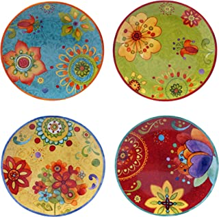 Certified International 22451SET/4 Tunisian Sunset Salad/Dessert Plates (Set of 4), 8.75