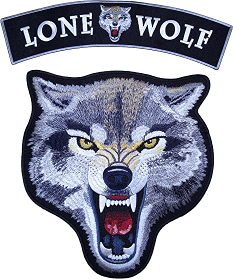 Grey /& White Growling Wolf Patch Small Size
