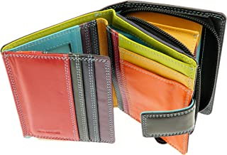 Ladies Versatile Super Soft Real Leather Wallet Purse & Credit Card Holder With Zip Up Coin Purse / Section - Holds 8 Credit Cards - Black & Multi-Color - SUNSET - Order of the internal colors may vary from the picture