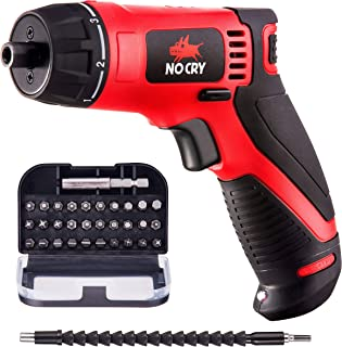 NoCry 10 N.m Cordless Electric Screwdriver - with 30 Screw Bits Set, Rechargeable 7.2 Volt Lithium Ion Battery, 2 Extensio...