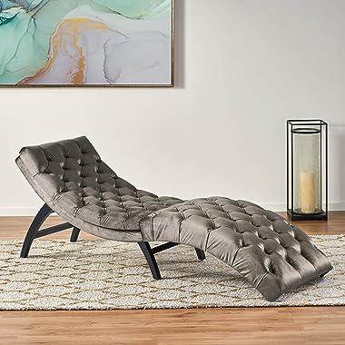 Christopher Knight Home Garret Tufted Velvet Chaise Lounge, Grey / Dark Brown