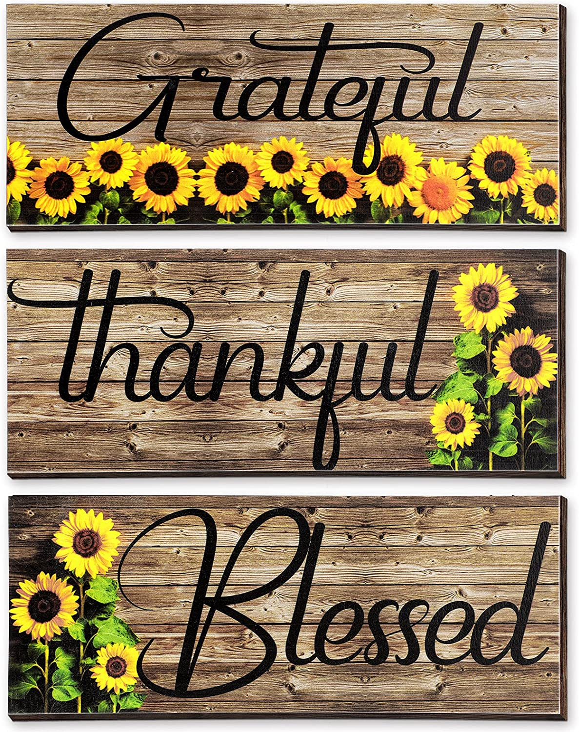 3 Pieces Sunflower Prints Wood Hanging Wall Plaques Grateful Thankful Blessed Wall Art Signs Sunflowers Spring Autumn Positive Sign Wall Art Decor for Bedroom, 10 x 4 x 0.2 Inch (Black Words)