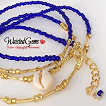 Royal Goddess Waist beads, Blue Waist beads, body chain, body Jewelry, belly ring with chain,Gifts for her, African Waist Beads, Waist Beads for Women, adjustable waist beads