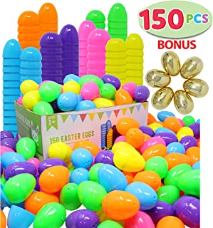 "144 Pieces 2 3/8"" Easter Eggs + 6 Golden Eggs for Filling Specific Treats, Easter Theme Party Favor, Easter Eggs Hunt, Basket Stuffers Filler, Classroom Prize Supplies by Joyin Toy"