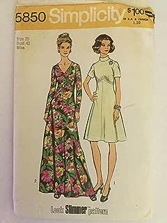 Simplicity 5850 Vintage Misses 1970s Maxi Dress