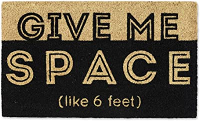 DII Natural Coir Fiber, Non-Slip PVC Backing, Indoor/Outdoor Welcome Home Doormat, 18x30, Give Me Space